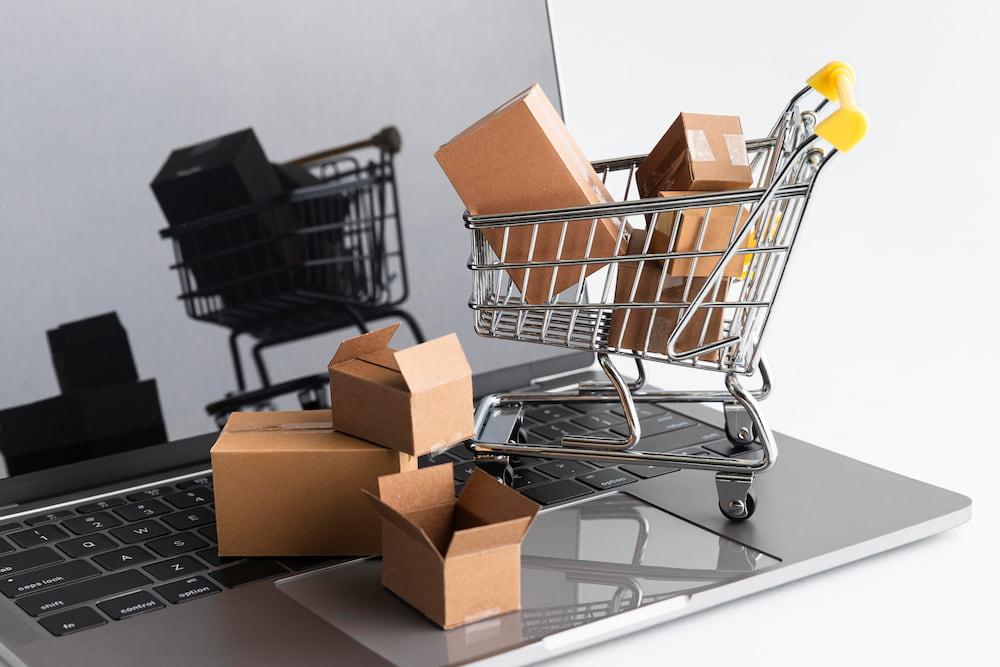 notebook carrinho caixas compra online